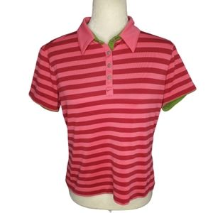 NIKE golf fit dry striped collared button shirt